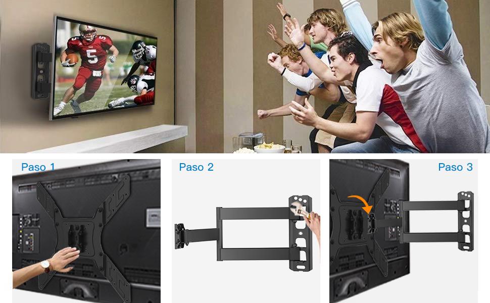 Soporte TV de Pared Articulado Inclinable y Giratorio para Pantallas de 26-55 Pulgadas, hasta 45 kg, MAX VESA 400x400mm: Amazon.es: Electrónica