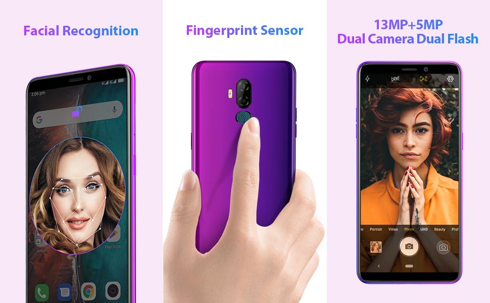 Moviles Libres Ulefone P6000 Plus Android 9.0 6350mAh 3GB RAM 32GB ROM Quad-Core Smartphone 4G Desbloqueo Facial y Mochila de Huella Digital Cámara ...