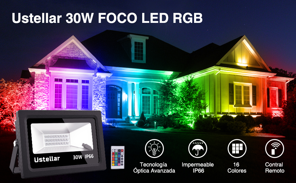 Ustellar 30W Foco LED RGB, 16 Colores Proyector LED Impermeable ...