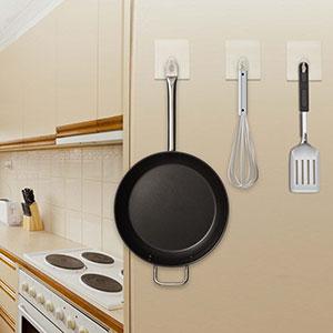SUXNOS Ganchos transparentes adhesivos para las cocinas No ocasiona Da/ños De Gran Resistencia Resistente al Agua y al Aceite No raya Reutilizable