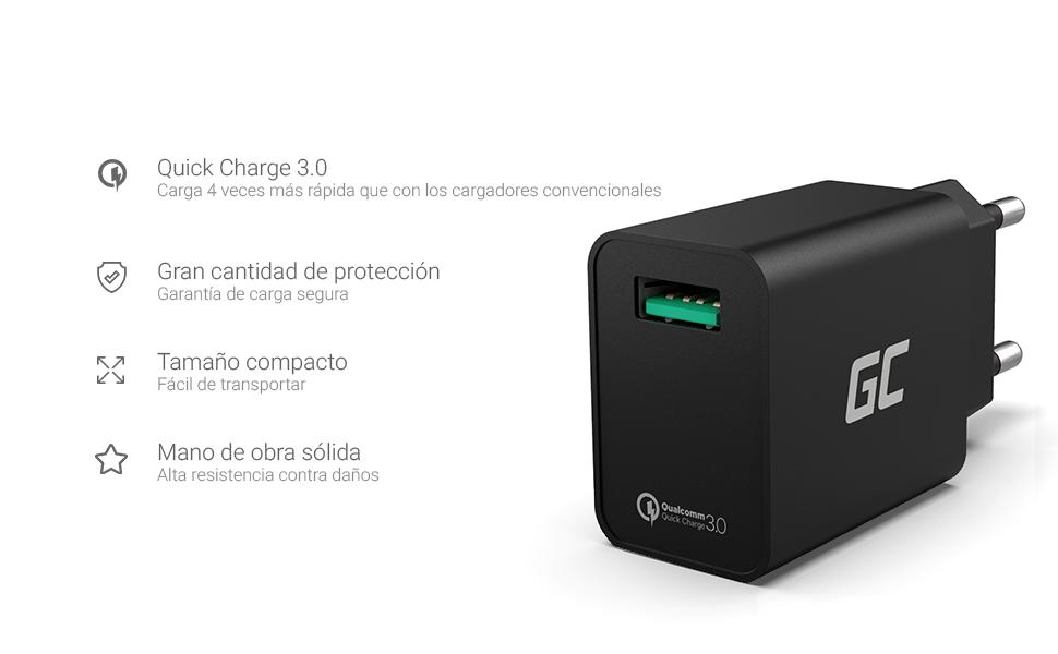 Green Cell 18W USB Cargador con Carga Rápida Quick Charge 3.0 Adaptador de Corriente para Apple iPhone 6 6s 7 8 X SE iPad Samsung Galaxy A5 A6 J3 J5 ...