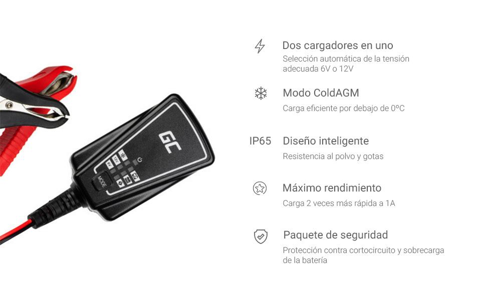 Green Cell® Cargador de batería (AGM, Gel, MF, SLA, VRLA) automático (Voltaje de Carga 6V / 12V 12W 1A) Cargador con probador de batería para Coche ...