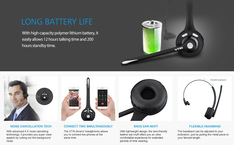 VicTsing Auriculares Bluetooth, Auriculares con Micrófono