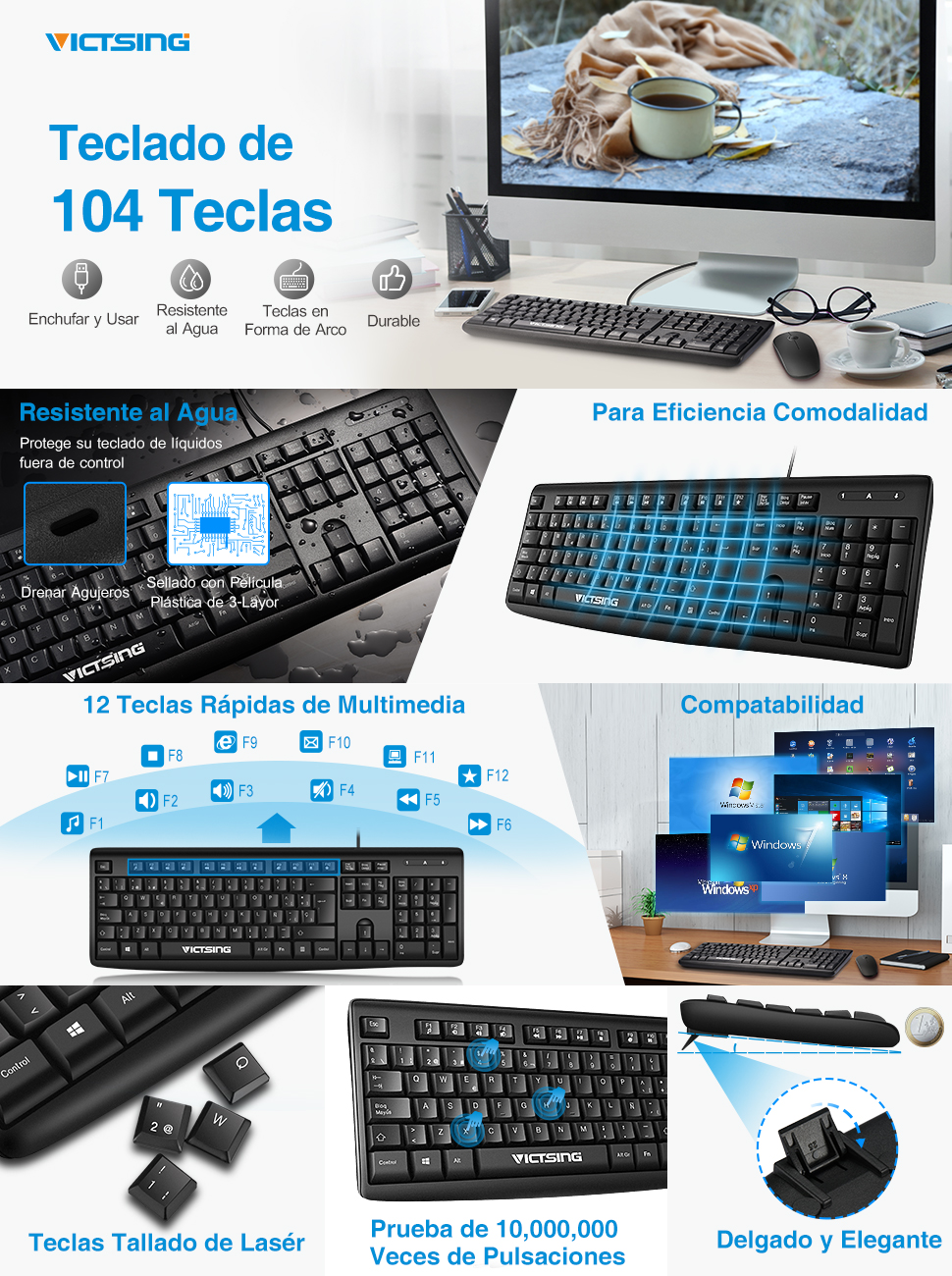 VicTsing Teclado USB Español, para PC o Mac, 104 Teclas, Compatible con Windows 10/8/7/Vista/XP, Linux, QWERTY - Negro