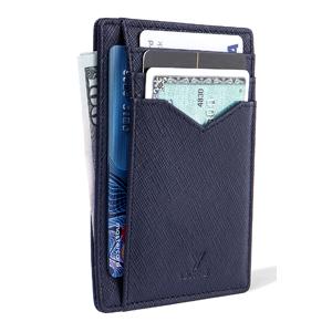 YBONNE Nueva cartera minimalista bloqueo de la tarjeta del bolsillo delantero delgado titular RFID, hecho del más fino cuero auténtico