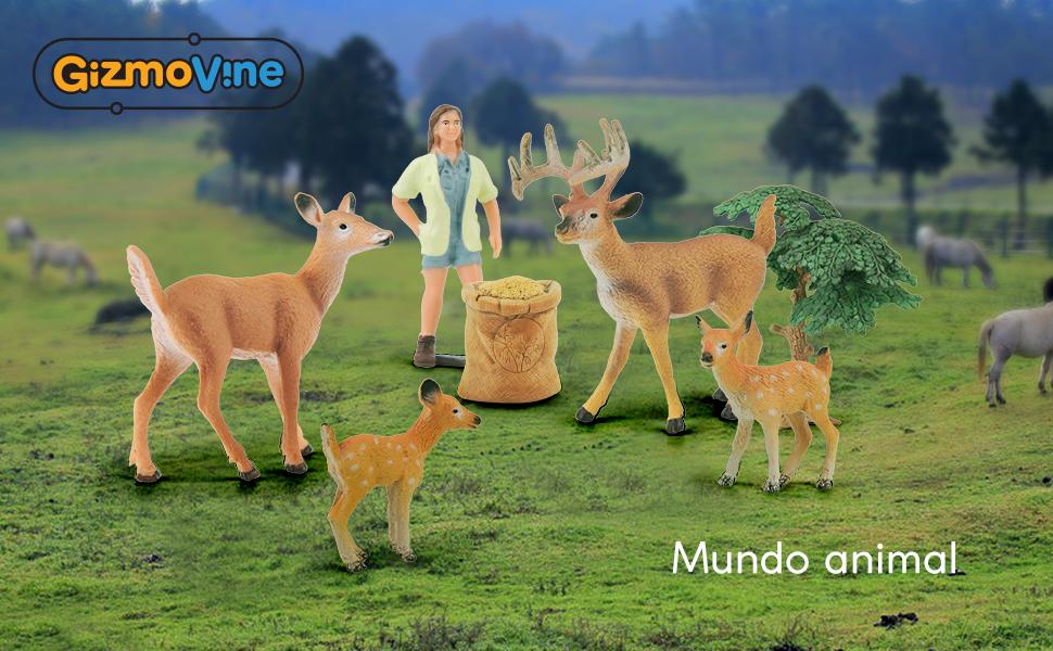 GizmoVine Animales Juguetes de Figuras Niño Educativo Conjunto Modelo de Venado y Pequeña Granja con Caja de Regalo Regalos de Cumpleanos para Chico: Amazon.es: Juguetes y juegos