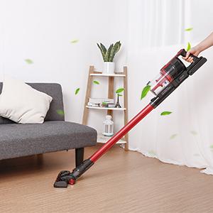 Aspirador Escoba Sin Cable, 8000Pa 2 Modos de Limpieza, Batería recargable extraíble 2000mAh - 40 min de Tiempo de Trabajo, 700ml, Aspirador ...