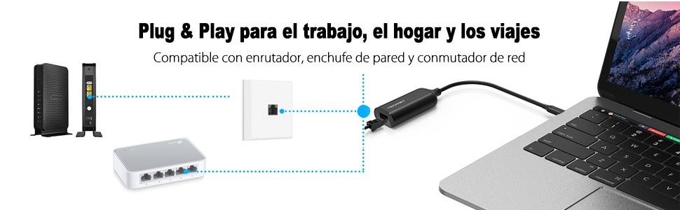 TECKNET Adaptador USB C a Ethernet, USB Tipo C a RJ45 10/100 ...