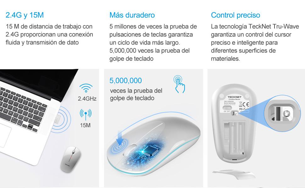 TECKNET Ratón Inalámbrico Delgado, 2.4G Mouse Inalámbrico Mini con Diseño Ergonómico 18 Meses de Duración de Batería, Compatible con Laptop, PC, Ordenador, Chromebook, Notebook: Amazon.es: Electrónica