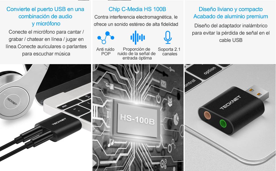 TECKNET Tarjeta de Sonido USB, Tarjeta de Sonido Externa Audio y ...