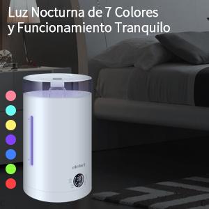 ELEHOT Humidificador Ultras/ónico Ambiente Capacidad 3L con Indicador LED Luces de 7 Colores difusi/ón 360/°