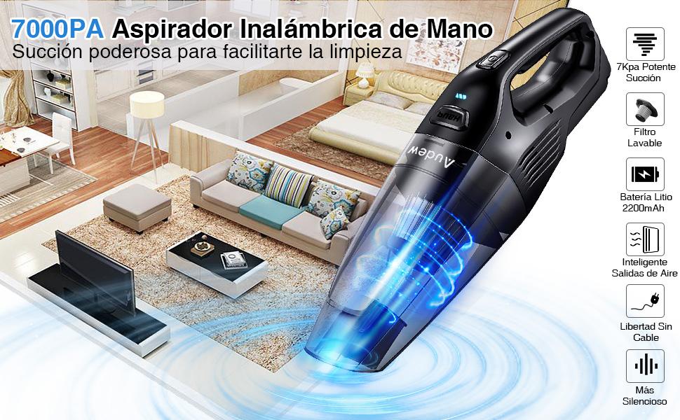 Audew Aspirador de Mano Sin Cable Aspirador Mano de Hogar y Coche 7000PA 2200mAh Aspiradora Inalámbrica y Ligera con Filtro de Acero Inoxidable y 2 Boquillas: Amazon.es: Hogar