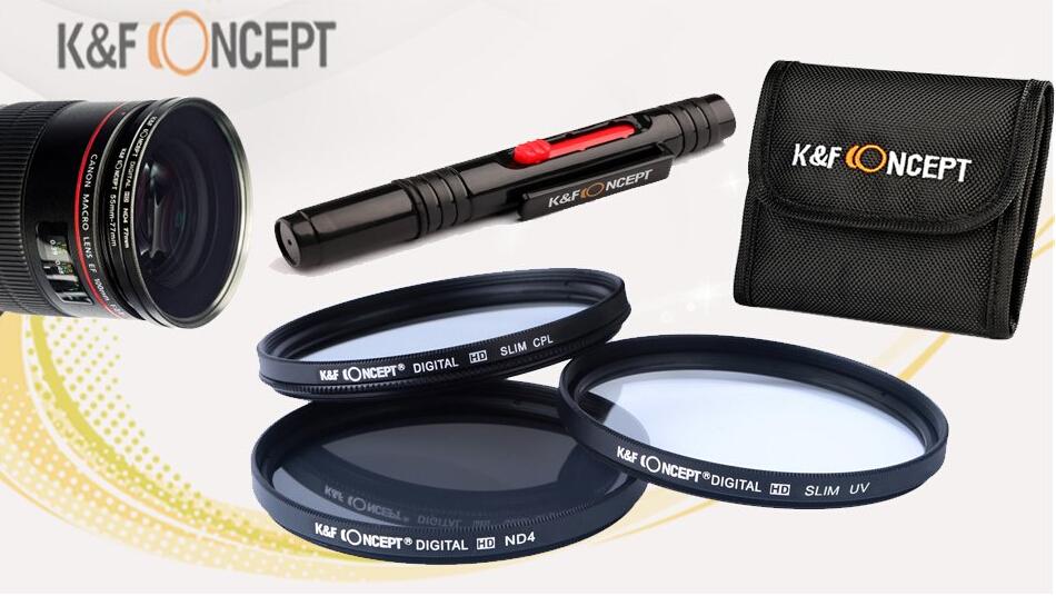 62mm UV+CPL+ND4, K&F Concept Filtro UV Filtro Polarizador Filtro de Densidad Neutra 3 piezas Delgado Filtro Kit Filtro de Cámara + Pluma de Limpieza + ...