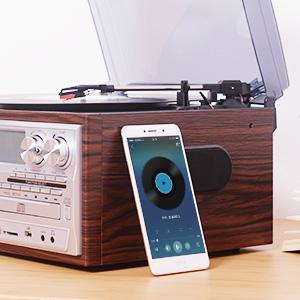 Giradiscos JORLAI 33/45/78 con Bluetooth Reproductor de CD y Vinilo Grabación USB / SD y Juego de Casete, PLL Radio FM, Entrada AUX de y Conector para ...