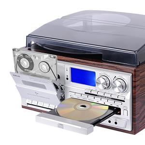 JORLAI Tocadiscos con 3 velocidades, altavoces estéreo, LCD, conversión USB/SD a MP3, casetes y reproductor de CD, radio AM/FM, salida de auriculares, ...