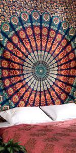 Rosa y Azul 229x274 cm RAJRANG BRINGING RAJASTHAN TO YOU Tapiz psicod/élico tapices de Mandala Grandes para Colgar en la Pared Hoja de Colcha tama/ño King Art Decor