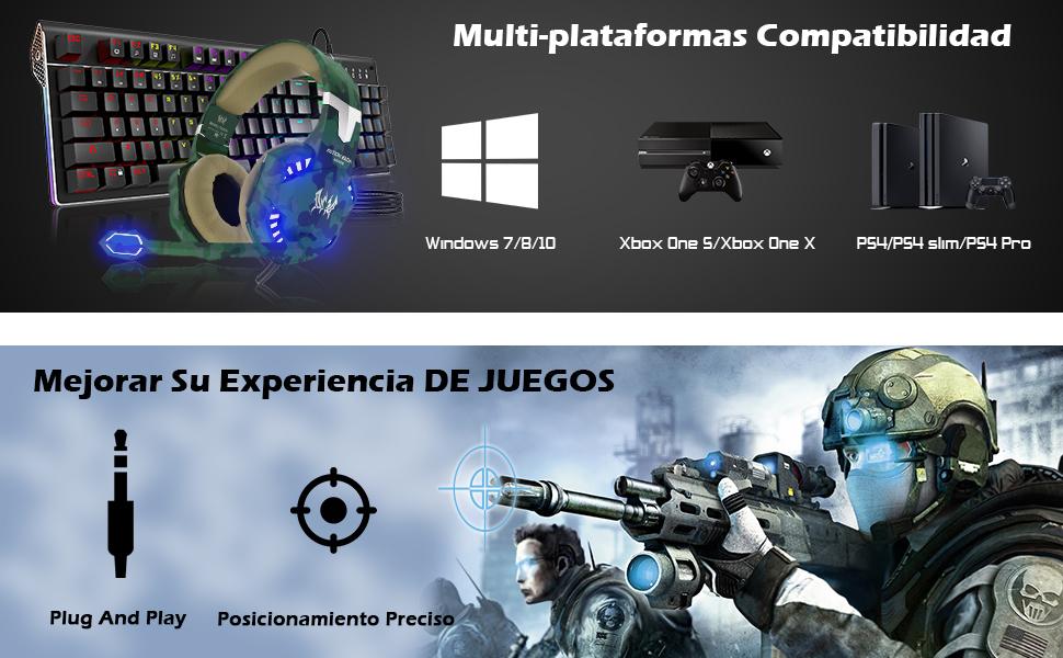 VersionTECH. Auriculares Gaming Cascos PS4 con Microfono, Diadema ...