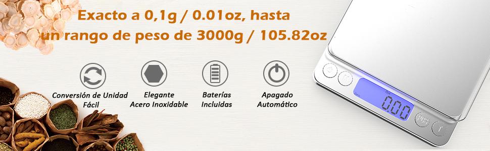 VersionTech Báscula Digital para Cocina Escala para Alimentos de 6,6 lbs/ 3 kg con Plataforma de Acero Inoxidable y Gran Pantalla LCD Balanza ...