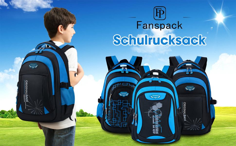 Mochilas Escolares,Fanspack Mochilas Escolares Juveniles Bolso Mochila Deporte Mochila Colegio Backpack Grande Mochila Infantil Juveniles (Azul)