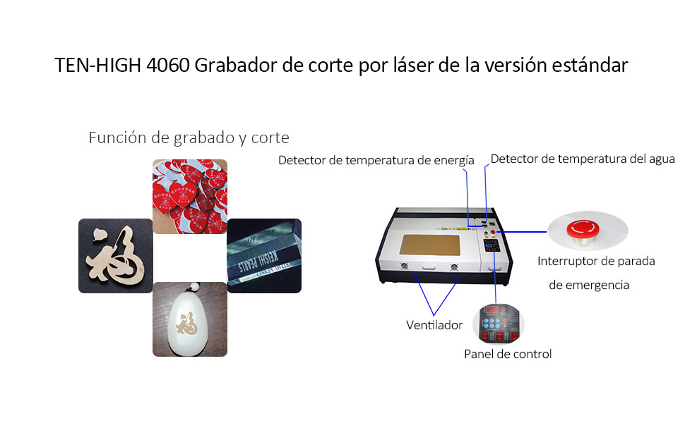 Ten de High 4060 400 x 600 mm 15.7 x 23.6 inches 40 W/50 W/60 W Small Desktop Laser Engraving Cutting Machine, versión estándar., TH-CO2-JK4060-60W-BP: Amazon.es: Bricolaje y herramientas