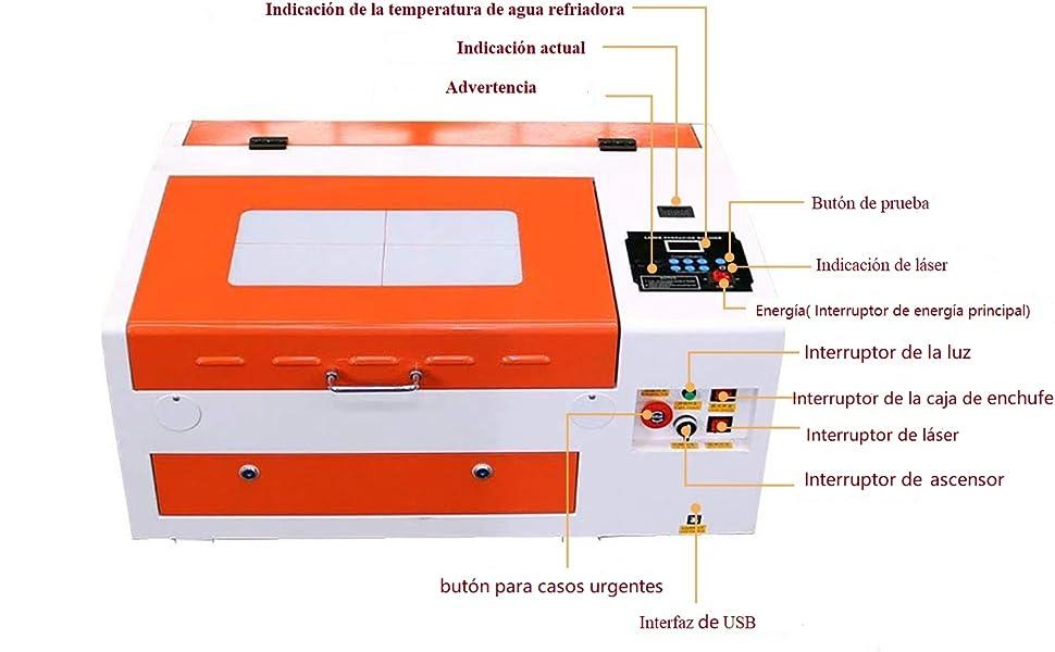 TEN-HIGH CO2 40W 110V/220V Superficie de grabado 300x400mm Láser ...