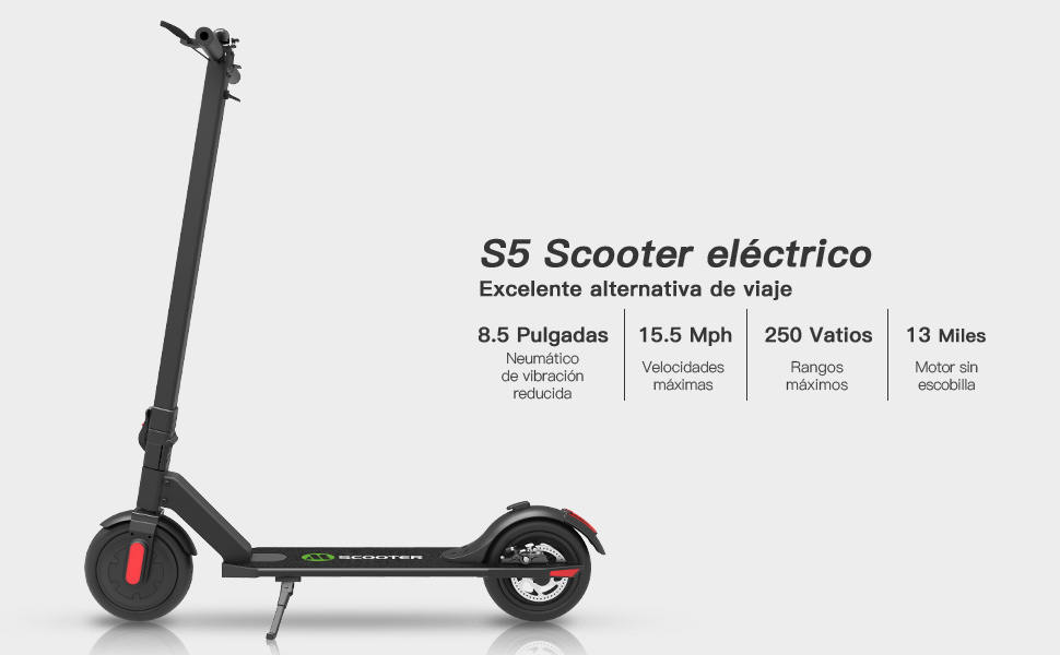 M MEGACHEELS Patinete electrico Adulto - Scooter electrico 25km/h, Juventud Unisex,Negro