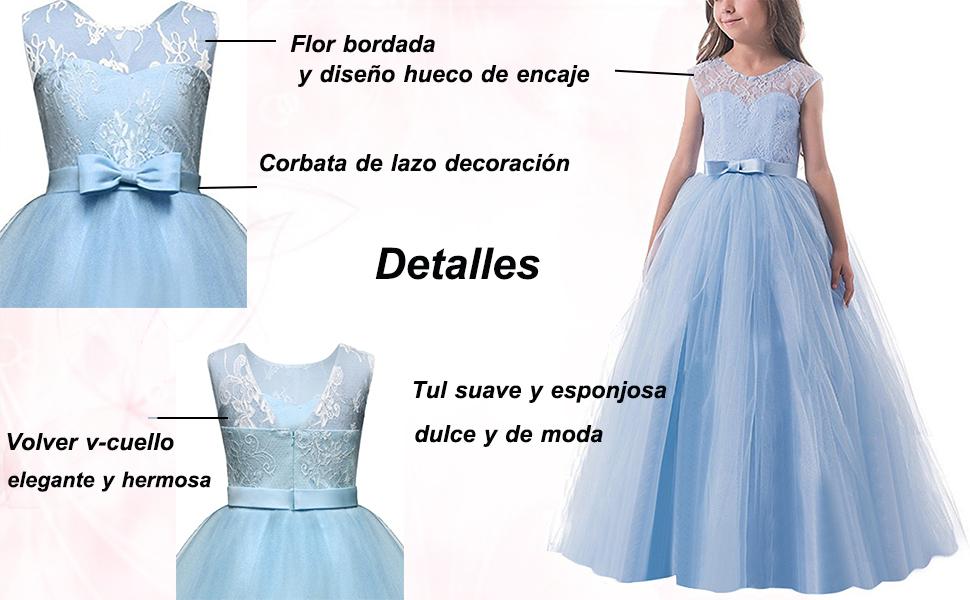 NNJXD Vestido de la Princesa de Las Muchachas sin Mangas Elegante ...