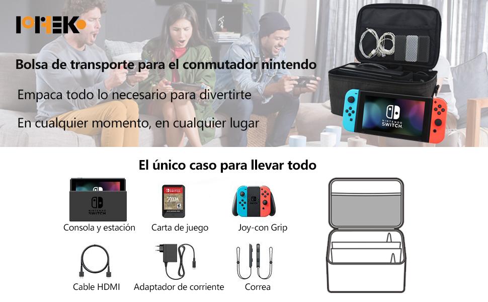 POPHEKO Nintendo Switch Funda para Nintendo Switch Bolsa Funda de transporte para Nintendo Switch, Storage Bag Funda de viaje para llevar la Nintendo Switch y sus accesorios Negro: Nintendo 3DS: Amazon.es: Videojuegos