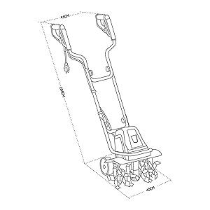 Motoazada eléctrica (1400W - 6 fresas y ancho de trabajo de 40 cm), para cultivo de la tierra, motocultor hortícola