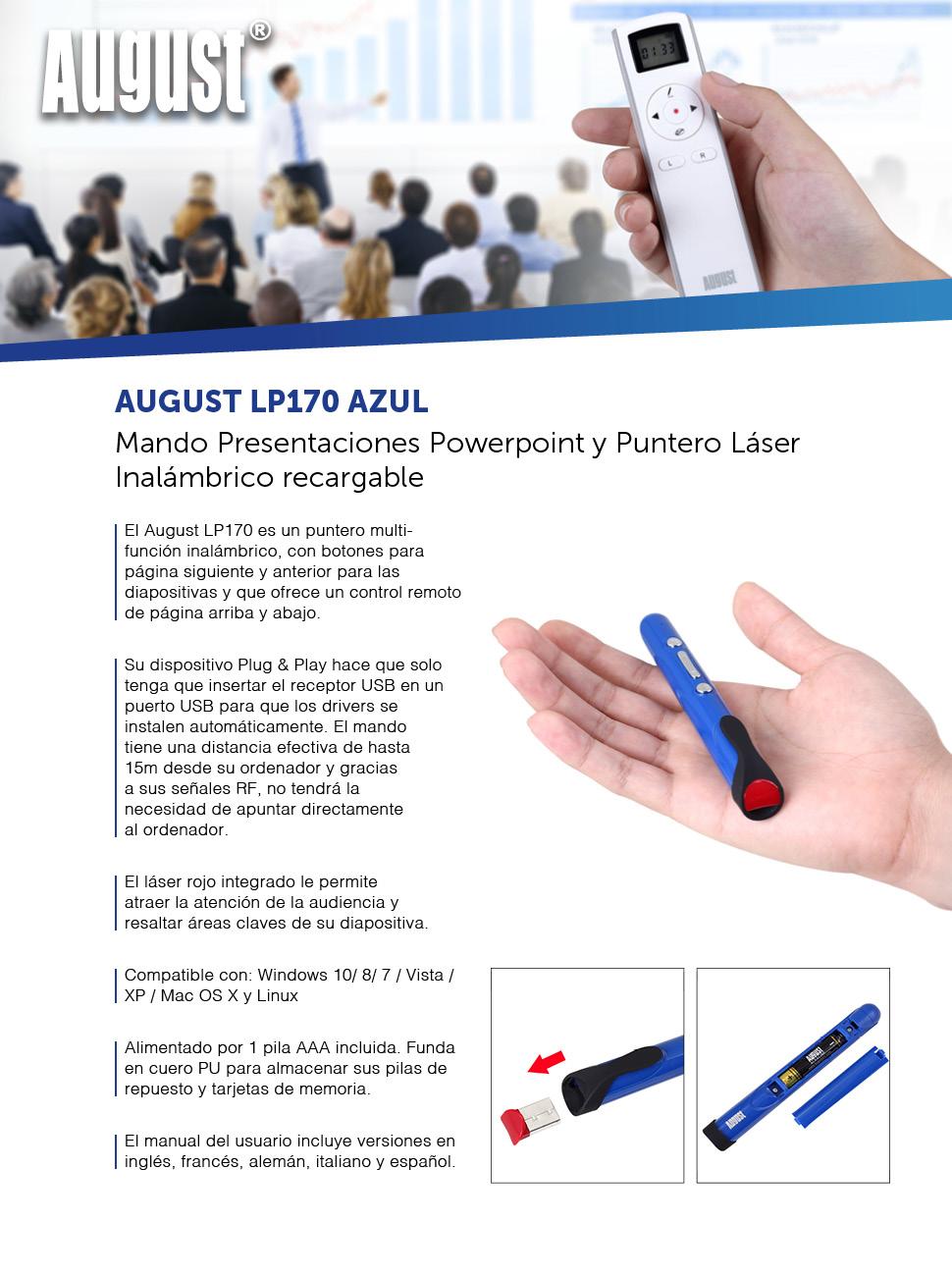 El August LP170 es un puntero multi-función inalámbrico, con botones para página siguiente y anterior para las diapositivas y que ofrece un control remoto ...