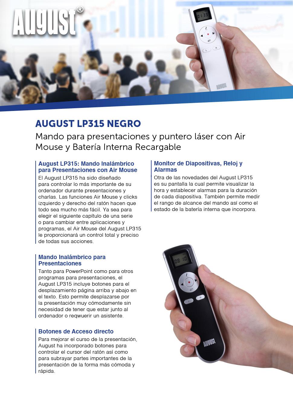 August LP315 - Mando para presentaciones con puntero - Mando inalámbrico con Air Mouse y Batería Interna Recargable - Diapositivas Powerpoint - ...