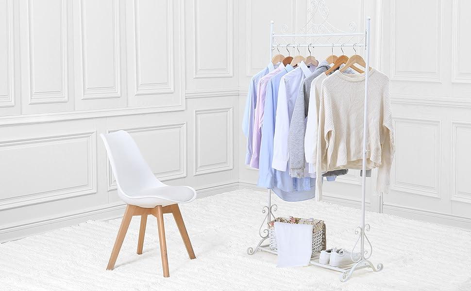 NEUN WELTEN Vintage Perchero Blanco para Prendas Soporte para Colgar Ropa con Estante de Zapatos Metal (Blanco)