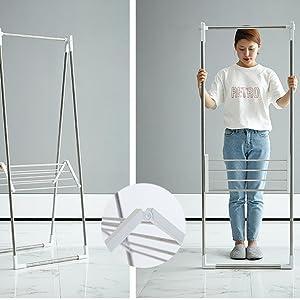 NEUN WELTEN Secador de Interiores Plegable y Alto con estantes de toallero de Acero Inoxidable de 152 cm de Altura (Negro)