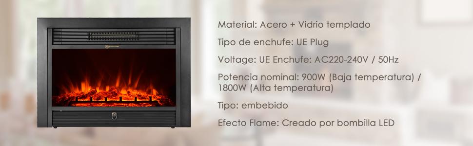Decdeal Chimenea Eléctrica Incrustada 900W-1800W con Termostato y Temporizador,Control A Distancia,Led Efecto Llama por iKayaa