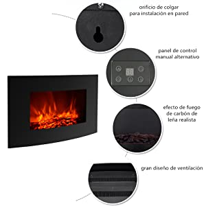 electric fireplace. electrica chimenea