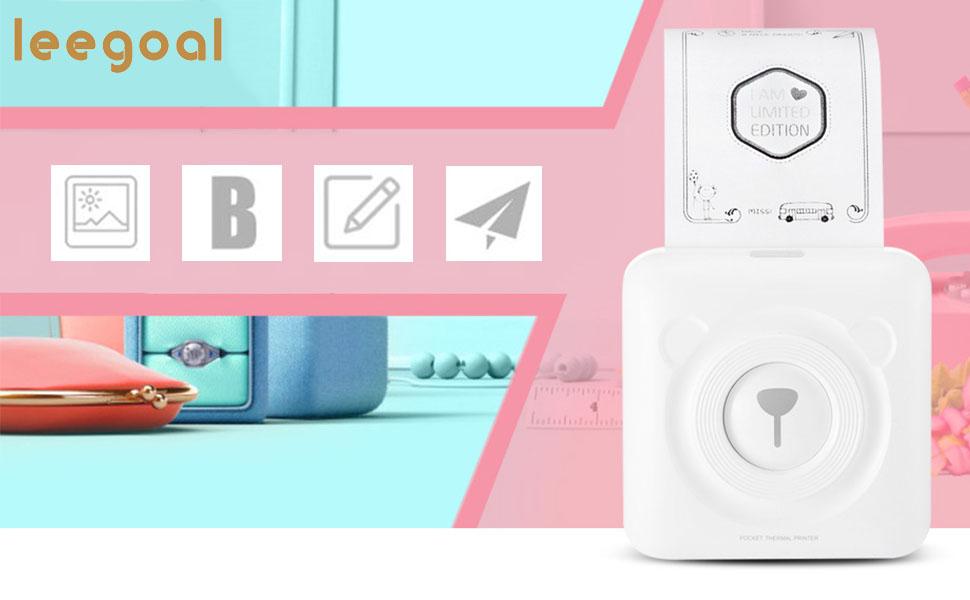 leegoal Impresora Portátil, inalámbrica instantánea Bluetooth Foto ...