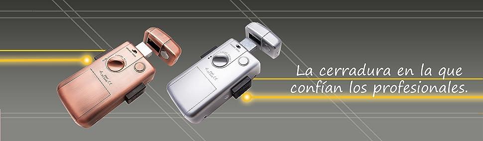 Cerradura electrónica inteligente invisible con 3 mandos para evitar la ocupacion y robo en su vivienda. Color Bronce