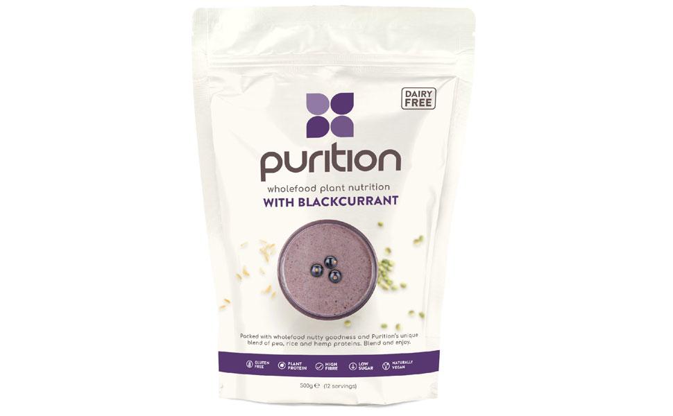 Purition Grosella negra sin lácteos, vegana, natural, batido de alto contenido en proteína, bolsa de 500 g (12 porciones)