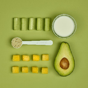 Healthy smoothie recipe with avocado and milk