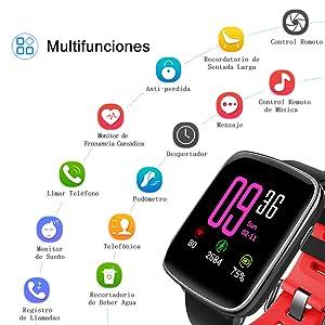 Smart Watch, MindKoo GV68 Reloj Inteligente de Pulsera Muñeca Impermeable de IP68 Deportivo Bluetooth 4.0 Multifunciones Correa reemplazable con ...