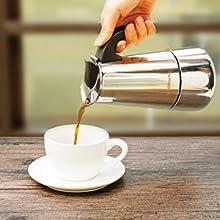 Godmorn Cafetera Italiana,Cafetera espressos en Acero inoxidable430,6tazas(300ml)-Base de Cono,Conveniente para la Cocina de inducción,Cafetera Moka ...