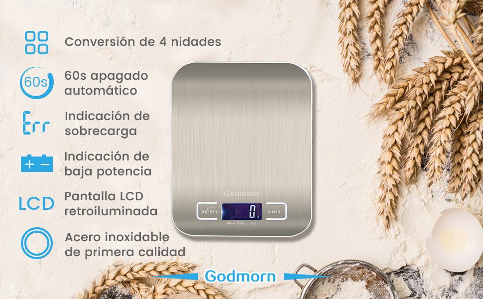 Báscula Digital Cocina de Acero Inoxidable
