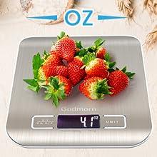 Godmorn Balanza Cocina con Gran Pantalla LCD