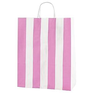 Thepaperbagstore 25 Bolsas De Papel De Colores, Reciclables Y Reutilizables, con Asas Retorcidas, Rayas Rosa Y Blanco - Medianas 250x110x310mm