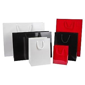 Thepaperbagstore 30 Bolsas De Papel para Fiestas Y Regalos, Lujosas, Brillantes, con Manijas De Cuerda - Negras - Media Alta 250x100x360mm