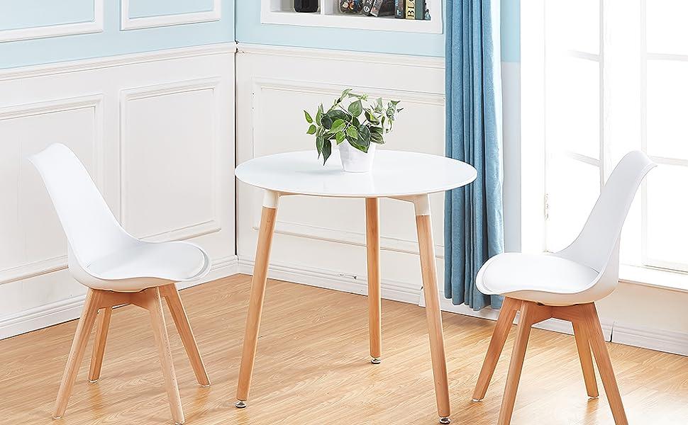 DORAFAIR Mesa Comedor Redondas Blancas, Mesa Cocina Escandinavo y ...