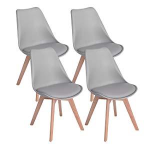 DORAFAIR Pack 4 sillas escandinava Estilo nórdico Silla de Comedor, con Las piernas de Madera de Roble Maciza y cojín cómoda,Gris
