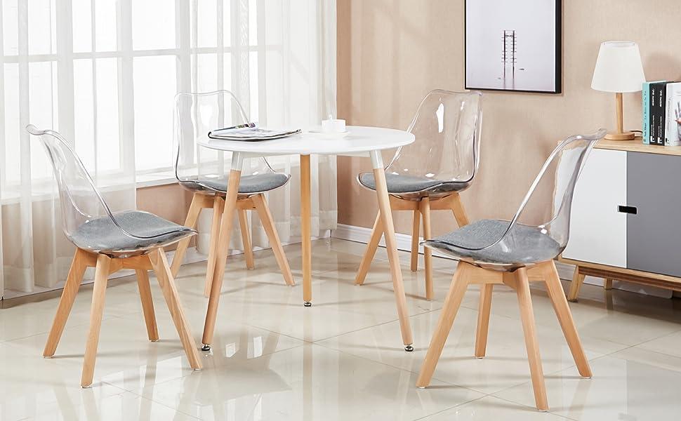 Ces chaises scandinaves style salle à manger contemporaine viennent avec des jambes en bois rembourrés siège rembourré en bois massif, le dossier est en ...