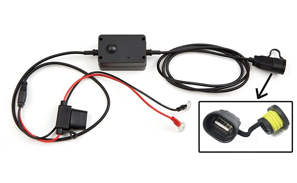 KUMA Cargador USB de teléfonos Apto para Motocicletas, Motos, ciclomotores y escúteres Que se Conecta Directamente a la batería. Universal para Todos ...