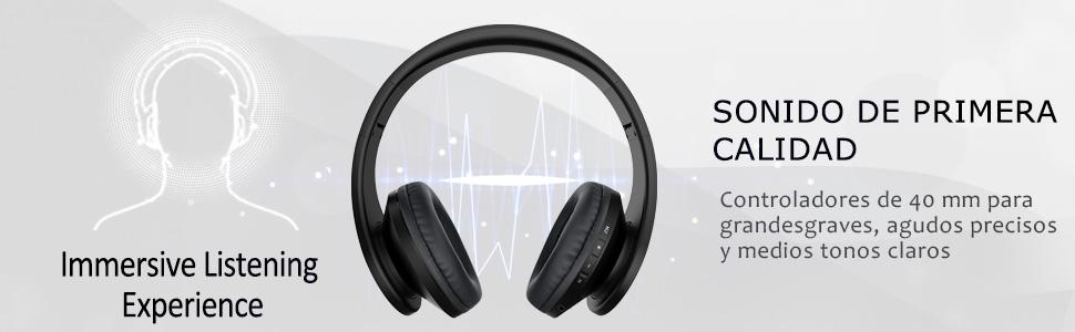 Ifecco Bluetooth Estéreo Auriculares Música sobre-oído Sonido de Alta fidelidad, Bluetooth Banda para la Cabeza Plegable con micrófono y Cable de ...